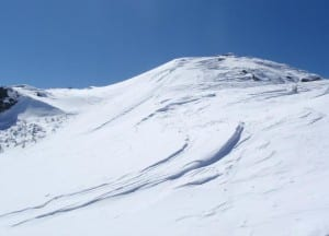 Wind slab on the summit. Photo by Phil Brown.