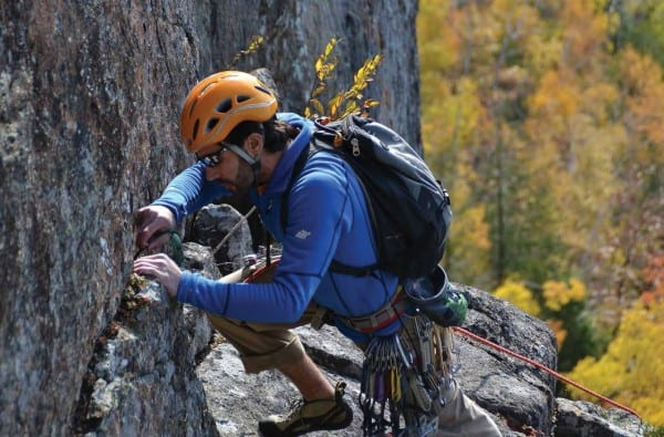 EMS guide Matt Wiech puts in protection on the Slanting Ledge.