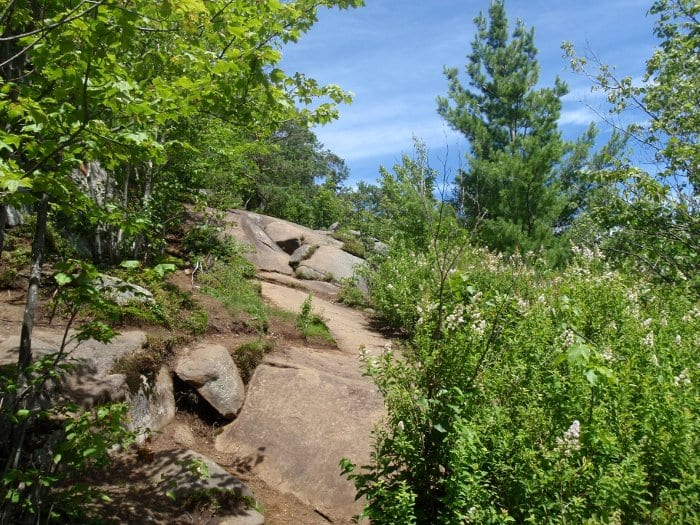 The Baker trail traverses rock ledges as it nears the summit. Photos by Phil Brown.