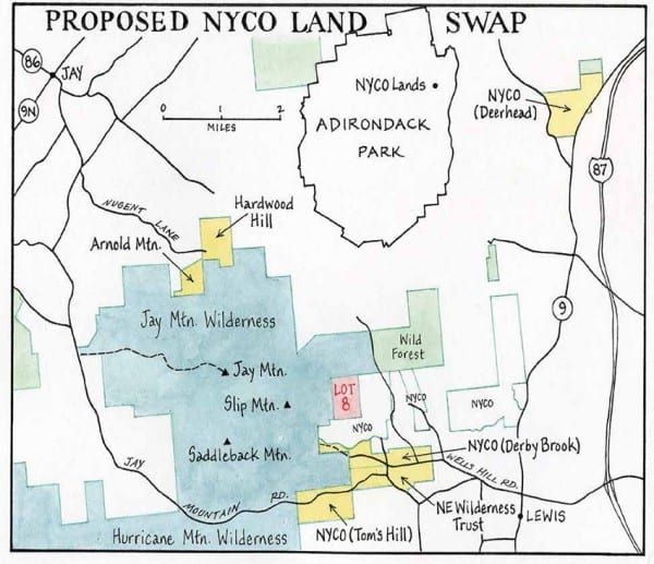 Under the proposal, the state would pick up the yellow parcels in exchange for Lot 8. Map by Nancy Bernstein