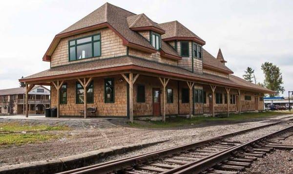 The restored train depot in Tupper Lake. Photo by Nancie Battaglia