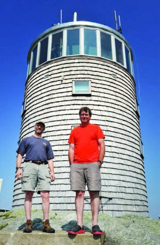 Casson and Rich Brandt, left, collect cloud data at Whiteface. Photo by Pat Hendrick