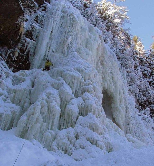 Don Mellor climbs OK Slip Falls in January. Photo by Don Mellor