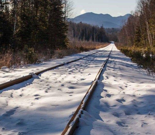 Snowmobilers complain that tracks often prevent them from riding in the rail corridor. Photo by Nancie Battaglia