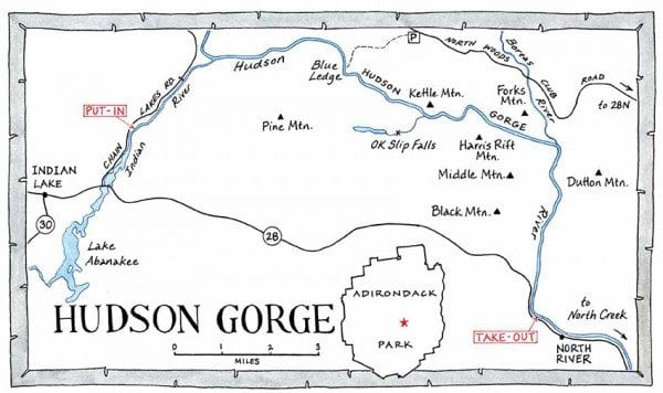 Hudson Gorge raft trips begin on the Indian River, with its heavy rapids. After three miles or so, rafters enter the Hudson River for fourteen miles of mild and turbulent rapids, with calm stretches mixed in. The takeout is at the hamlet of North River. Map by Nancy Bernstein