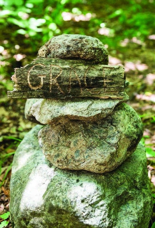 A cairn helps keep hikers on route. Photo by Lisa Godfrey