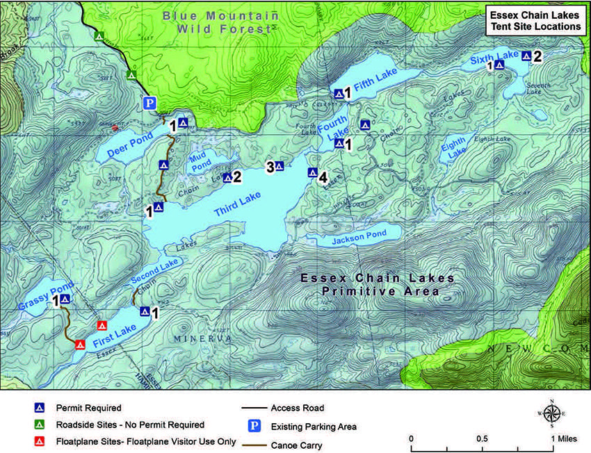 The map shows the campsites in the Essex Chain Lakes region. If requesting a camping permit, identify the site by its number and lake—for example, campsite 3 on Third Lake. Courtesy of DEC