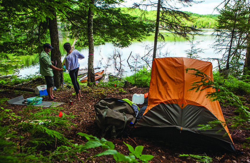 The state has designated thirteen waterfront campsites on the Essex Chain. Photo by Nancie Battaglia