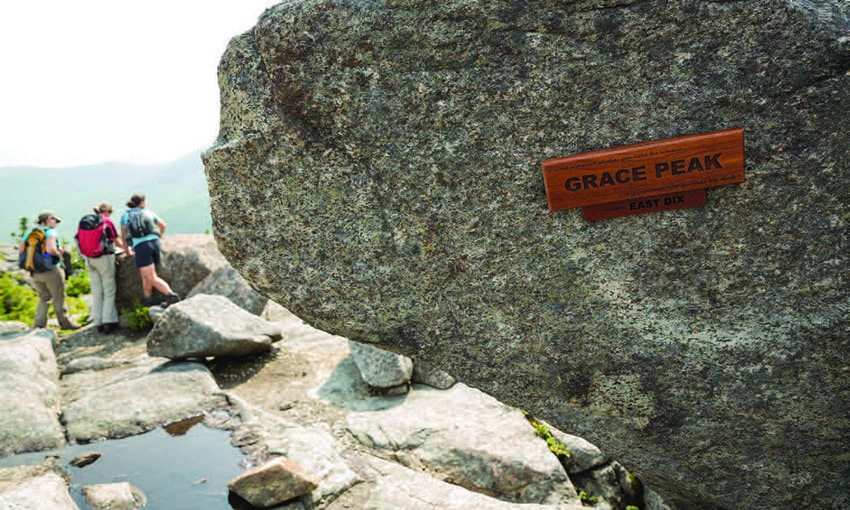 Admirers of Grace Hudowalski placed this commemorative sign on the summit. Photo by Lisa Godfrey