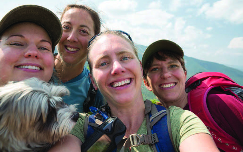 Chloe, Jaime, Sue, Lisa, and Kathleen take a group selfie on the summit. Photo by Lisa Godfrey