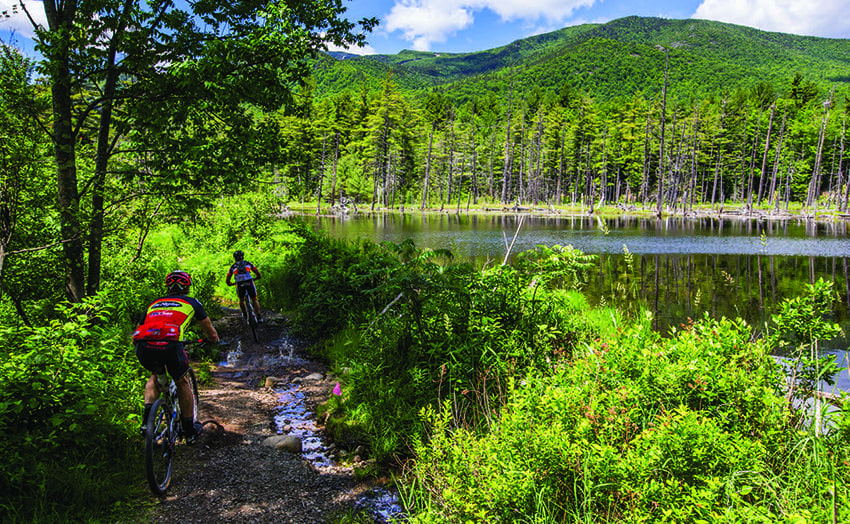 Under the State Land Master Plan, mountain biking is allowed in Wild Forest Areas but prohibited in Wilderness Areas. Photo by Nancie Battaglia