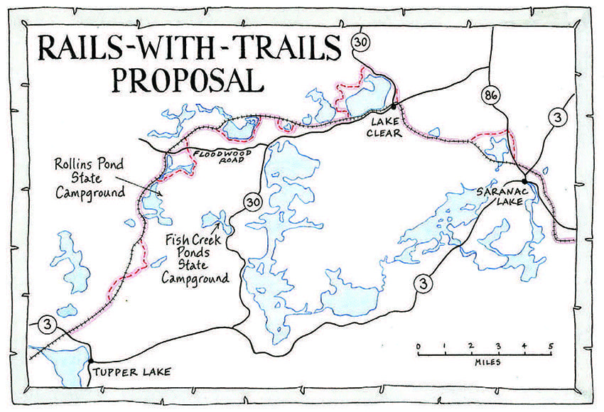 The Trails with Rails Action Committee has proposed creating a trail beside the tracks where feasible and creating spur trails where it's not feasible. The proposed route is marked in red. There are two options near Floodwood Pond. Map by Nancy Bernstein