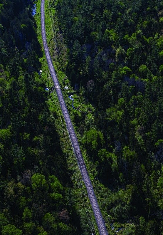 The rail corridor passes through unbroken forest in the Adirondack Park, including this section between Lake Placid and Saranac Lake. Photo by Nancie Battaglia
