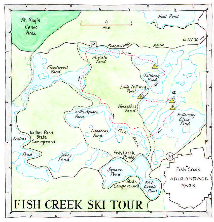 The exclamation points indicate the four places where the author encountered thin ice. Map by Nancy Bernstein