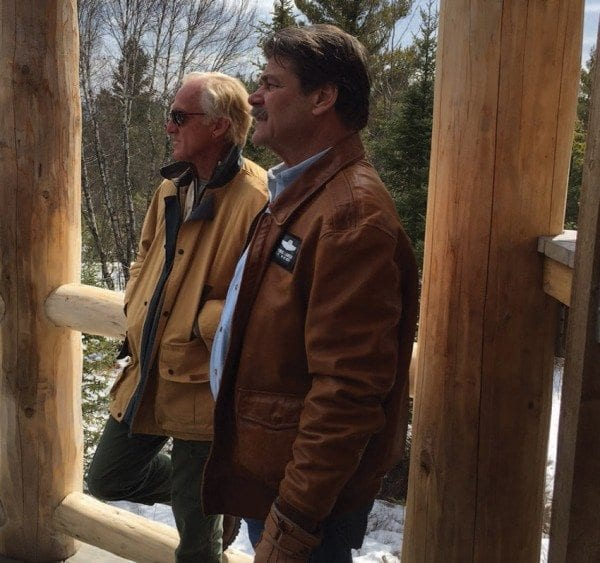 In early April, golfing legend Greg Norman (left) toured Tupper Lake with Tom Lawson. Norman is a potential investor in the Adirondack Club and Resort. Courtesy of Jim LaValley