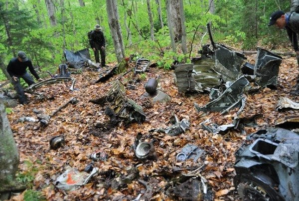 Wreckage from the 1945 crash can still be found in the woods near Forestport. Photo by Kenneth Aaron