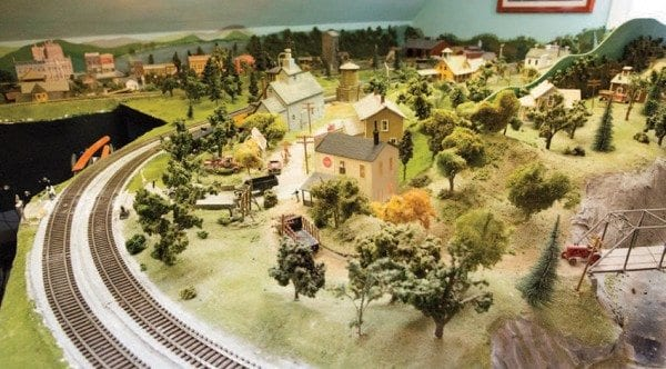 Kissam's model railroad set-up includes carefully rendered landscapes. Photo by Mike Lynch