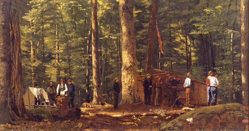 William James Stillman painted The Philosophers' Camp in the Adirondacks in 1858. Courtesy of Concord Free Public Library