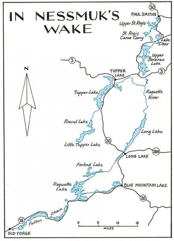 In Nessmuk's Wake Map by Nancy Bernstein