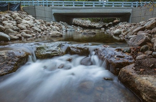 This new culvert on Roaring Brook in Lake Placid allows for fish passage throughout the summer months when brook trout seek out colder waters. Photo by Erika Edgley / Adirondack Nature Consevancy