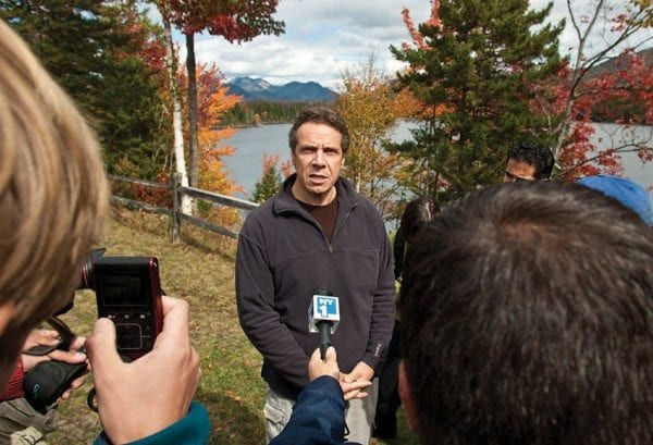 Governor Andrew Cuomo invited the media to visit Boreas Ponds in 2012. Photo by Nancie Battaglia