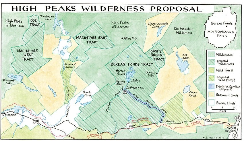 The map illustrates the proposal by environmental groups to expand the High Peaks Wilderness to 284,000 acres. Map by Nancy Bernstein