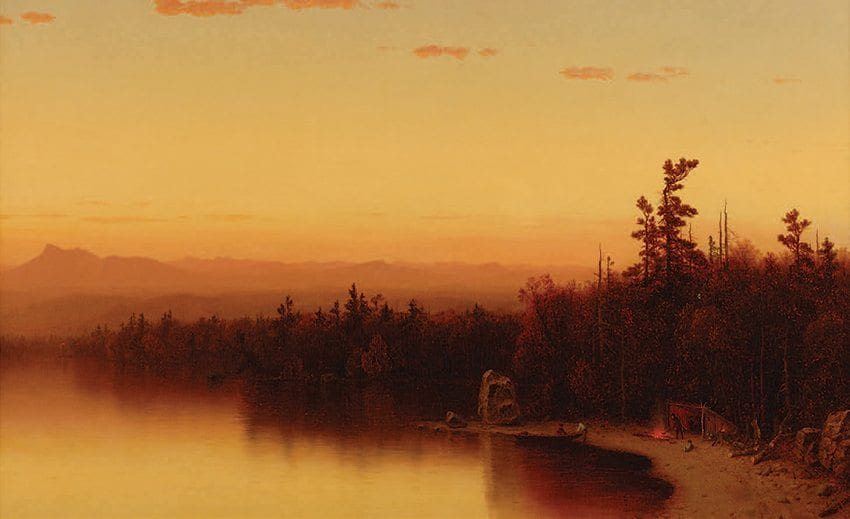 Sanford Robinson Gifford is among the artists mentioned in Mark Stoll's book tracing the connection between religion and environmentalism in the United States. Gifford's painting A Twilight in the Adirondacks is owned by the Adirondack Museum. Photo by Richard Walker/Courtesy of the Adirondack Museum