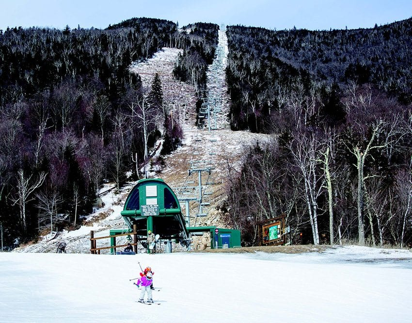 Whiteface Mountain Ski Area made snow on many trails, but part of the resort never opened. Photo by Mike Lynch