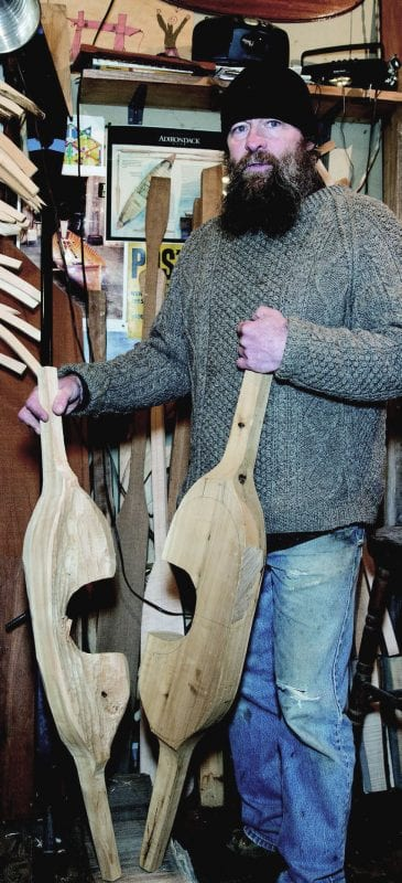 Tupper Lake's Rob Frenette makes wooden yokes as well as guideboats. Photo by Mike Lynch