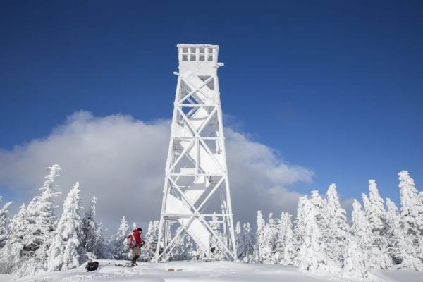 Scenes from a visit to the St. Regis Mountain fire tower with Doug Fitzgerald via the Teddy Roosevelt Trail in January 2017.