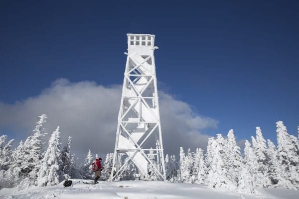 The St. Regis Fire Tower on a snowy winter day.