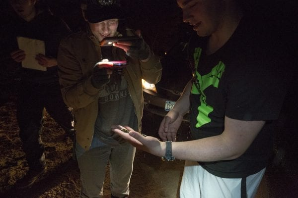 Paul Smith's College students look at a spotted salamander during its spring migration.