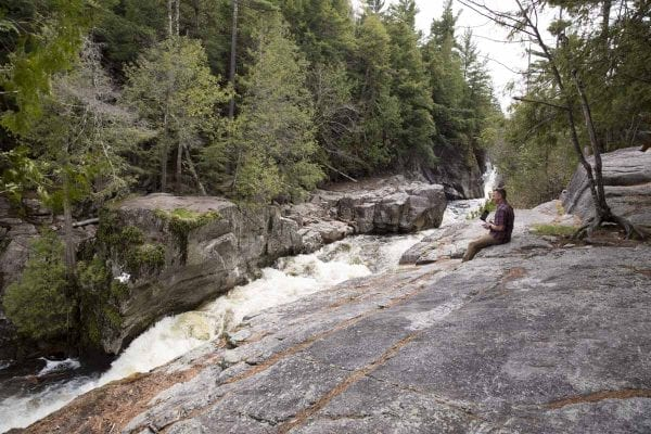 Dave LaMountain operates a drone at the Flume on the West Branch of the Ausable River in Wilmington. The DEC is currently working on new regulations for drones in the Forest Preserve.
