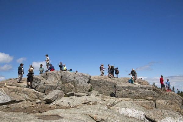 Hikers on Cascade Mountain's summit.