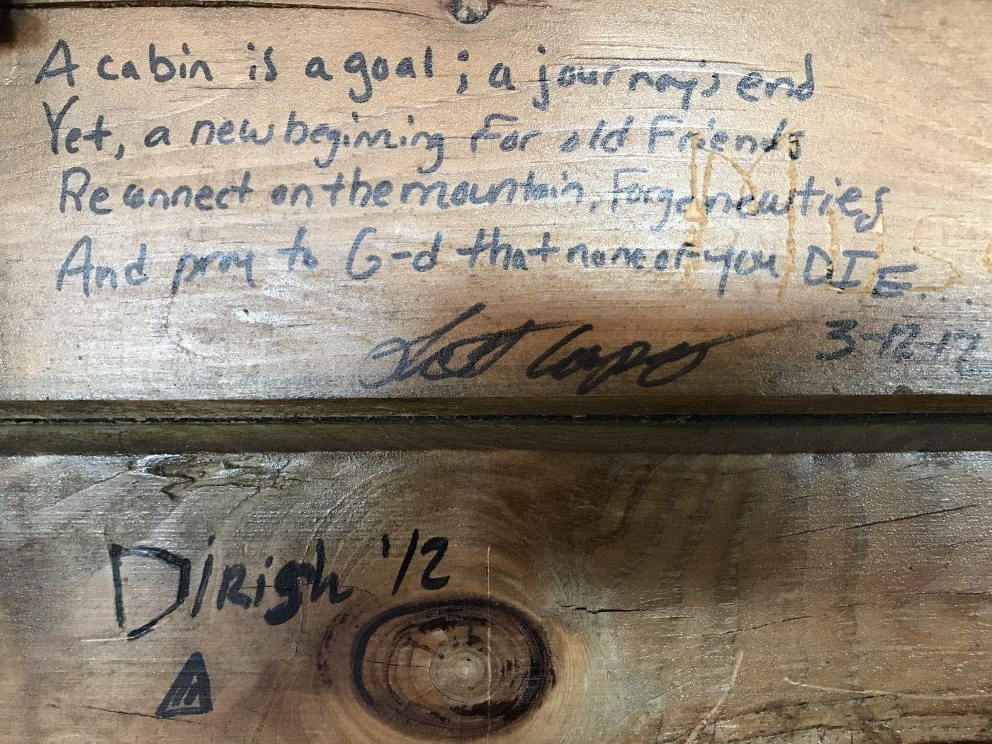 Graffiti in Thomas Mountain cabin