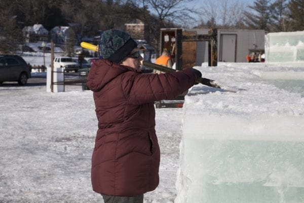 Scenes from Lake Flower on January 26, where volunteer crews were working to build an ice palace for the Saranac Lake Winter Carnival.