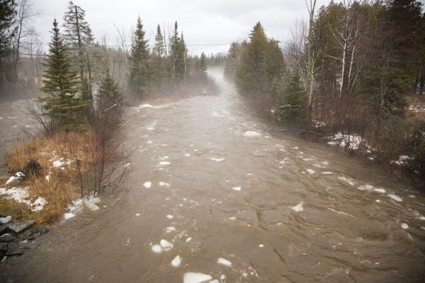 West Branch of the Ausable River near the Olympic Ski Jumps on Friday, January 12, 2018.