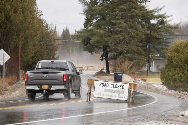 River Road in Lake Placid was closed on Friday, January 12, 2018, because of flooding on the West Branch of the Ausable River.