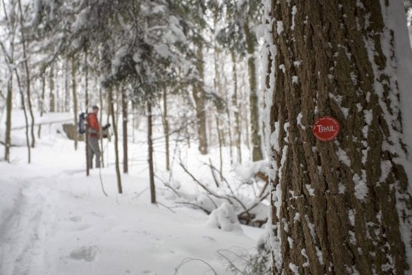 A skip trip to Goodman Mountain near Tupper Lake after several feet of snow had fallen. The deep snow made it possible to ski this hiking trail that is part of the Tupper Lake Triad.