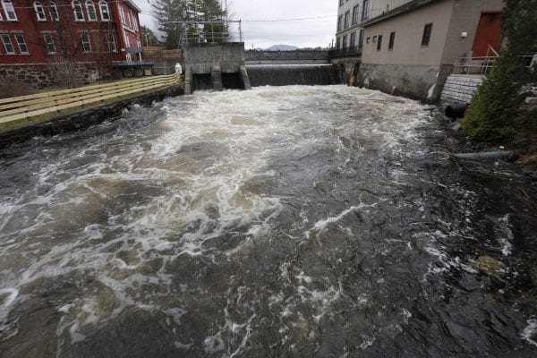 High waters on the Saranac River in Saranac Lake at the Lake Flower Dam on May 3.