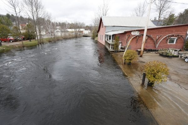 High waters on the Saranac River in Saranac Lake on May 3.