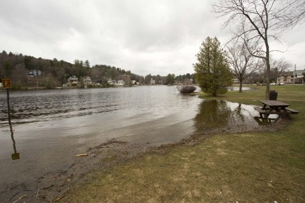 High waters on Lake Flower in Saranac Lake on May 3.