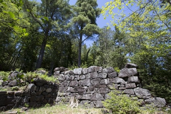 Ruins near the historic blast furnace for the MacIntyre Iron Works company on Upper Works Road in Newcomb.