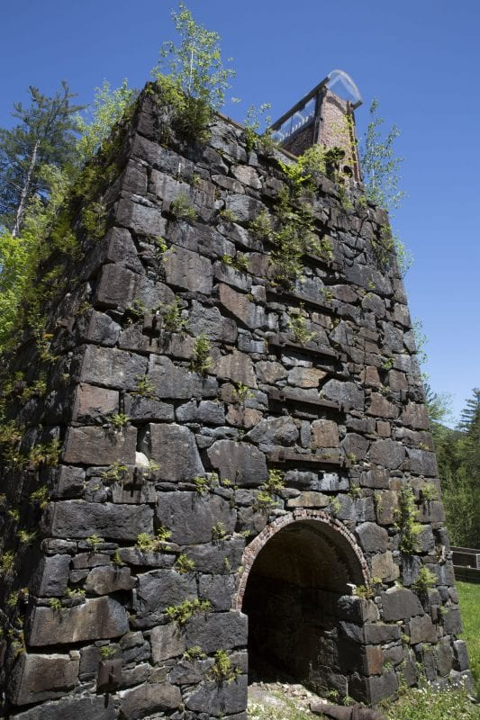 The historic blast furnace for the MacIntyre Iron Works company on Upper Works Road in Newcomb.