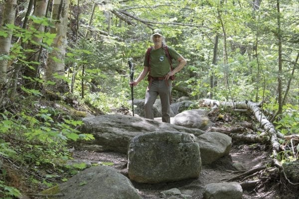 Ron Konowitz, of the Adirondack Powder Skier Association, stands on the trail to Algonquin Peak.