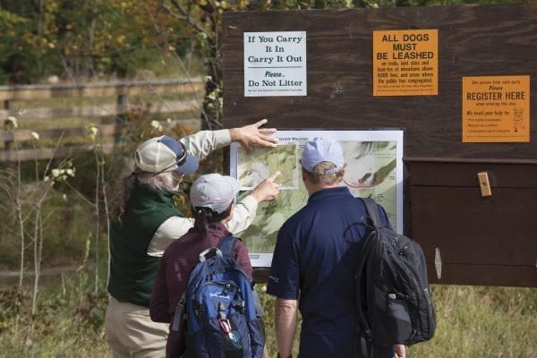 Ron Konowitz, a trailhead steward for the Adirondack 46ers, gives advice during Columbus Day weekend in 2017.