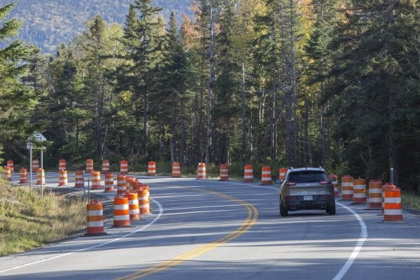 Cones were set up along state Route 73 to restrict parking at the Cascade Mountain trailhead last Columbus Day weekend.