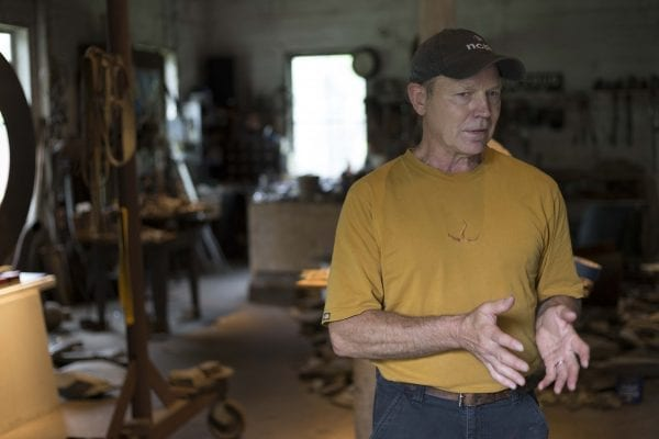 Sculptor John Van Alstine uses stone and manmade objects to create abstract art. His gallery is located in Wells, N.Y., and his work has been exhibited in the U.S., Asia, and Europe.