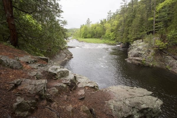 The gorge upstream of the Rome Dam on the West Branch of the Ausable River in May 2017. Photo by Mike Lynch
