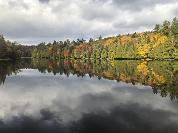 The foot of Rich Lake as seen from the Adirondack Visitor Interpretive Center. Photo by Phil Brown